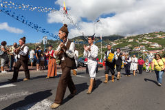 Madeira Wine Festival in Estreito de Camara de Lobos,. Folk music group in local costumes performs  a folk dance at Madeira Wine Festival in Esterito de Camara Royalty Free Stock Images