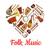 Folk music heart emblem of musical instruments Stock Photos