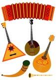 Folk music instruments. Accordion, balalaika, domra, mandolin, horn, flute isolated on white background Stock Photography