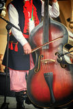 Folk musician with contrabass Stock Photos