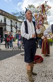 Folk musicians and dancers performing on the Avenida Arriaga  in Funchal on the Madeira. Funchal, Portugal - April 19, 2018:  Folk musicians and dancers stock image