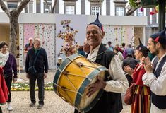 Folk musicians and dancers performing on the Avenida Arriaga in Funchal on the Madeira Island, Portugal. Funchal, Portugal - April 19, 2018: Folk musicians and stock images