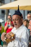 Folk musicians and dancers performing on the Avenida Arriaga  in Funchal on the Madeira Island, Portugal. Stock Images