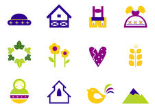 Folk, nature and traditional design icons. Stock Image