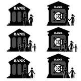 Folk och bank Royaltyfria Bilder