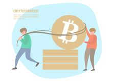 Folk- och bitcoinmynt Fotografering för Bildbyråer