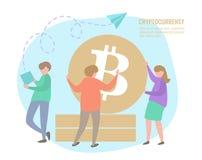 Folk- och bitcoinmynt Arkivfoton