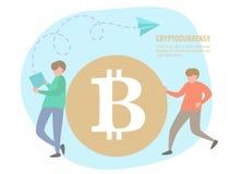 Folk- och bitcoinmynt Royaltyfri Foto
