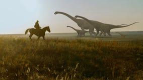Folk och dinosaurier Realistisk animering Landscape beskådar Arkivfoto