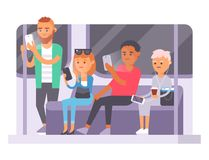 Folk- och grejbegrepp Livsstil för kommunikation för upptagen telefon för person smart social Modernt liv för online-socialt nätv royaltyfri illustrationer