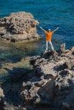 Folk och hav Fotografering för Bildbyråer