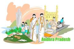 Folk och kultur av Andhra Pradesh, Indien stock illustrationer