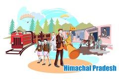 Folk och kultur av Himachal Pradesh, Indien stock illustrationer