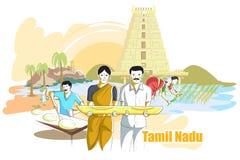 Folk och kultur av Tamil Nadu, Indien vektor illustrationer