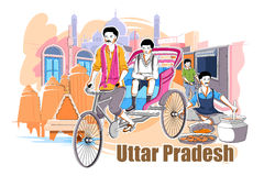 Folk och kultur av Uttar Pradesh, Indien stock illustrationer