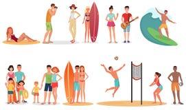 Folk och par på semesterstrandsamling Uppsättning för sommarferier Arkivbilder