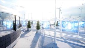 Folk och robotar Sci fi station Futuristisk enskenig järnvägtransport Begrepp av framtid framförande 3d arkivfoto