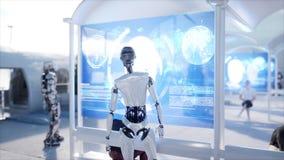 Folk och robotar Sci fi station Futuristisk enskenig järnvägtransport Begrepp av framtid framförande 3d vektor illustrationer