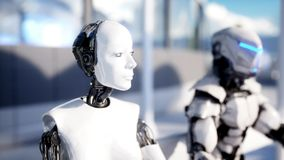 Folk och robotar Sci fi station Futuristisk enskenig järnvägtransport Begrepp av framtid framförande 3d stock illustrationer