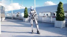 Folk och robotar Sci fi station Futuristisk enskenig järnvägtransport Begrepp av framtid framförande 3d royaltyfri illustrationer