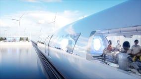 Folk och robotar Sci fi station Futuristisk enskenig järnvägtransport Begrepp av framtid Realistisk animering 4K