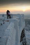 Folk och vinter Fotografering för Bildbyråer