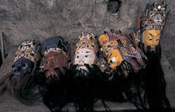 Folk  opera  in China. Masks  used in  chinese folk  play  in  Guizhou  province Stock Images