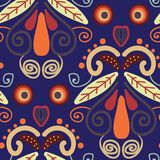 Folk orange red and yellow shapes on blue background seamless repeat. vector illustration