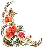 Folk ornament. Congrats card, Illustration in Ukrainian traditional folk painting , Petrykivka art stock illustration