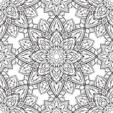 Folk,  ornament. Traditional, folk,  ornament. Seamless pattern of black contours on a white background. Template for shawl, carpet, wallpaper Stock Photos