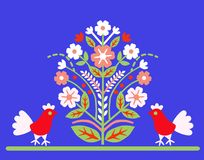 Ornament `Tree of Life` with two birds on a blue background. Stock Images