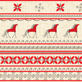 Folk ornamental pattern with horse Royalty Free Stock Image