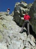 Folk på berg Arkivfoton