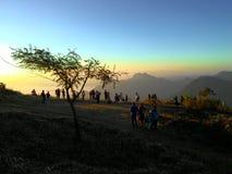 Folk på berget Fotografering för Bildbyråer