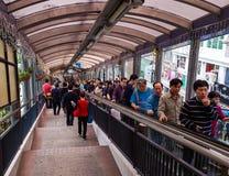 """Folk på Central†""""Mitt--nivåer rulltrappa av Hong Kong Arkivbild"""