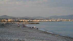 Folk på den populäraste stranden i Cagnes Sur Mer, Frankrike - Le Cigalon Plage - en berömd strand i södra sida av Frankrike stock video