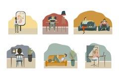Folk på distansutbildningonline-skola, hem- utbildning royaltyfri illustrationer