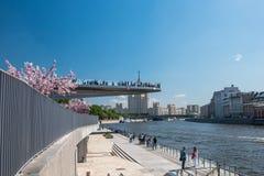 Folk på en sväva bro arkivbilder