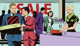 Folk på försäljning i lager för illustrationorange för bakgrund ljust materiel stock illustrationer