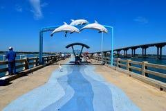 Folk på fiskepir, Florida Royaltyfri Bild