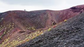 Folk på kanten av krater på Mount Etna Royaltyfri Bild