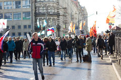 Folk på mars i minne av Nemtsov Arkivbilder