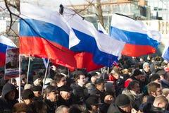 Folk på mars i minne av Nemtsov Fotografering för Bildbyråer