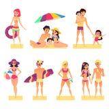 Folk på semester Plan stilvektorillustration Lycklig och för unga flickor och för pojkar solbada stock illustrationer