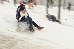 Folk på snö Arkivbilder