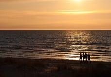 Folk på solnedgångstranden Arkivbild