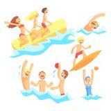 Folk på sommarsemester på havet som spelar och har gyckel med vattensportar på strandserien av illustrationer stock illustrationer