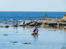 Folk på stranden Royaltyfria Foton