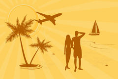 Folk på stranden royaltyfri illustrationer