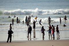 Folk på stranden, Durban Royaltyfri Foto